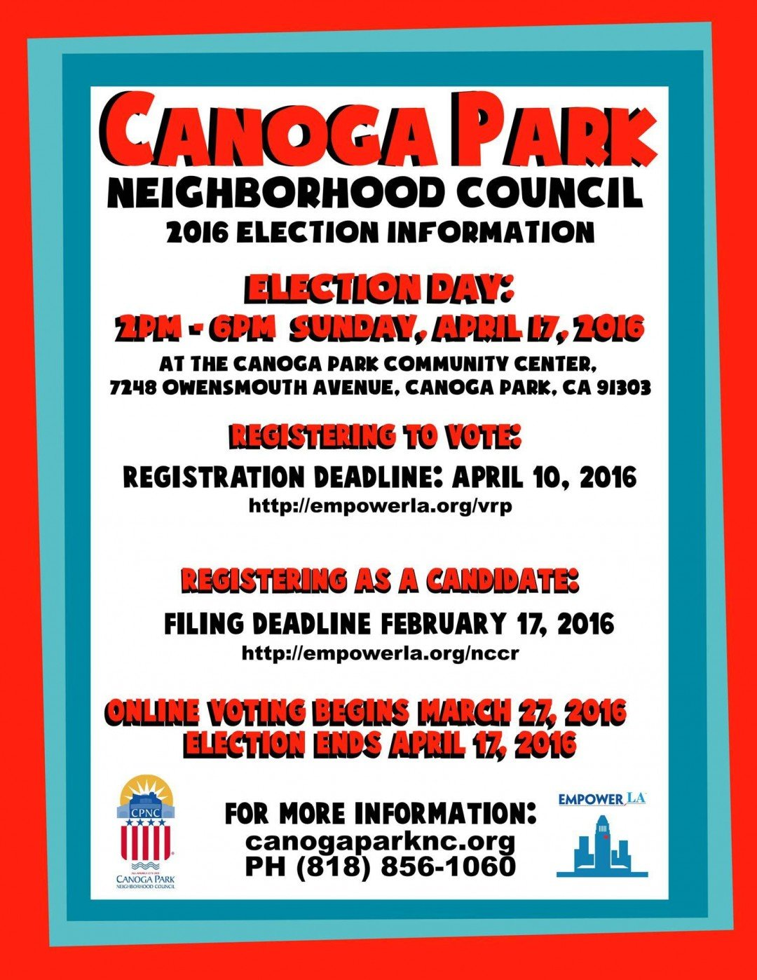 Canoga Park Neighborhood Council Election – Important Dates!