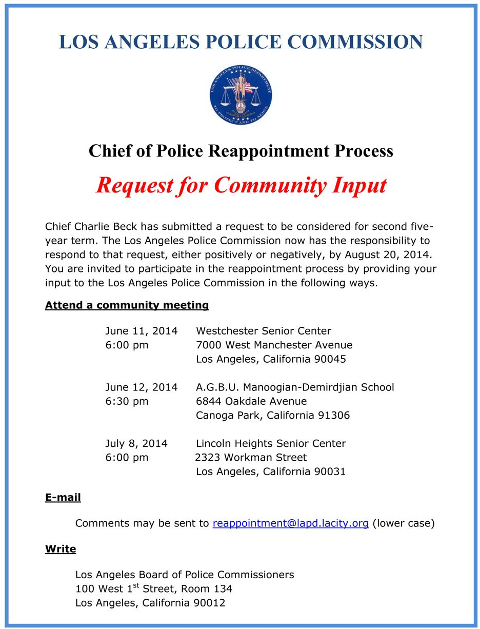 LAPD Request for Community Input