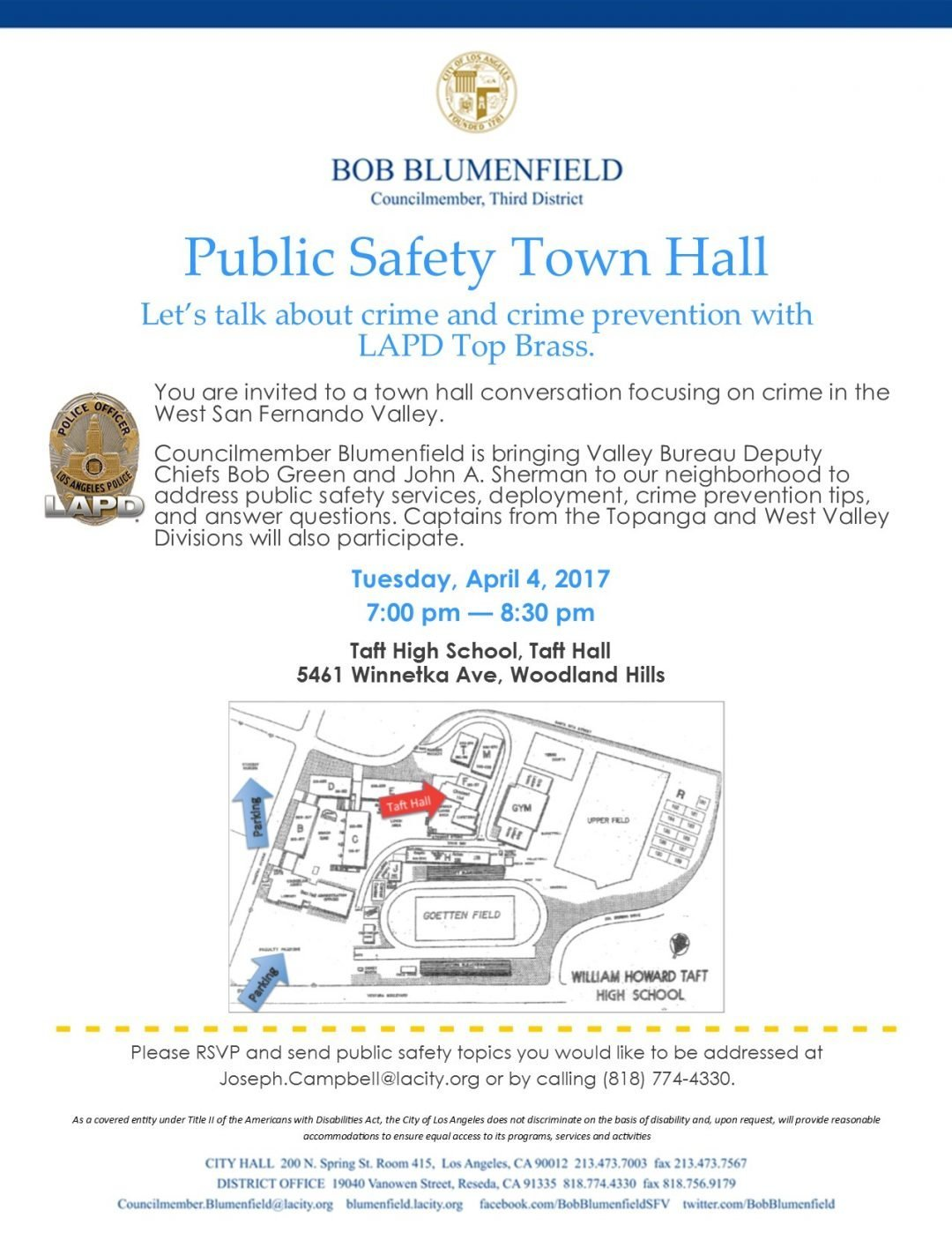 Public Safety Town Hall – Tuesday, April 4