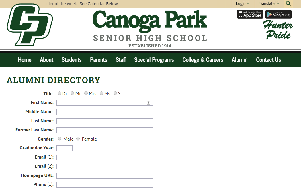 Calling all Alumni of Canoga Park High School